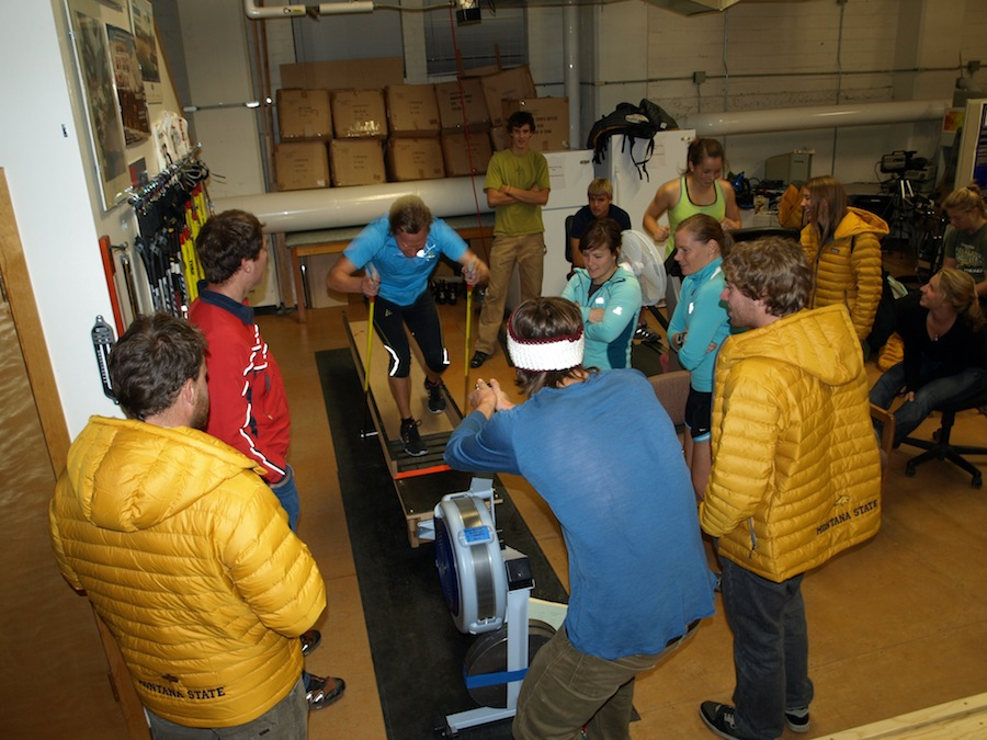 Upper-body power testing with the Montana State University Nordic Team (Dan Heil photo)