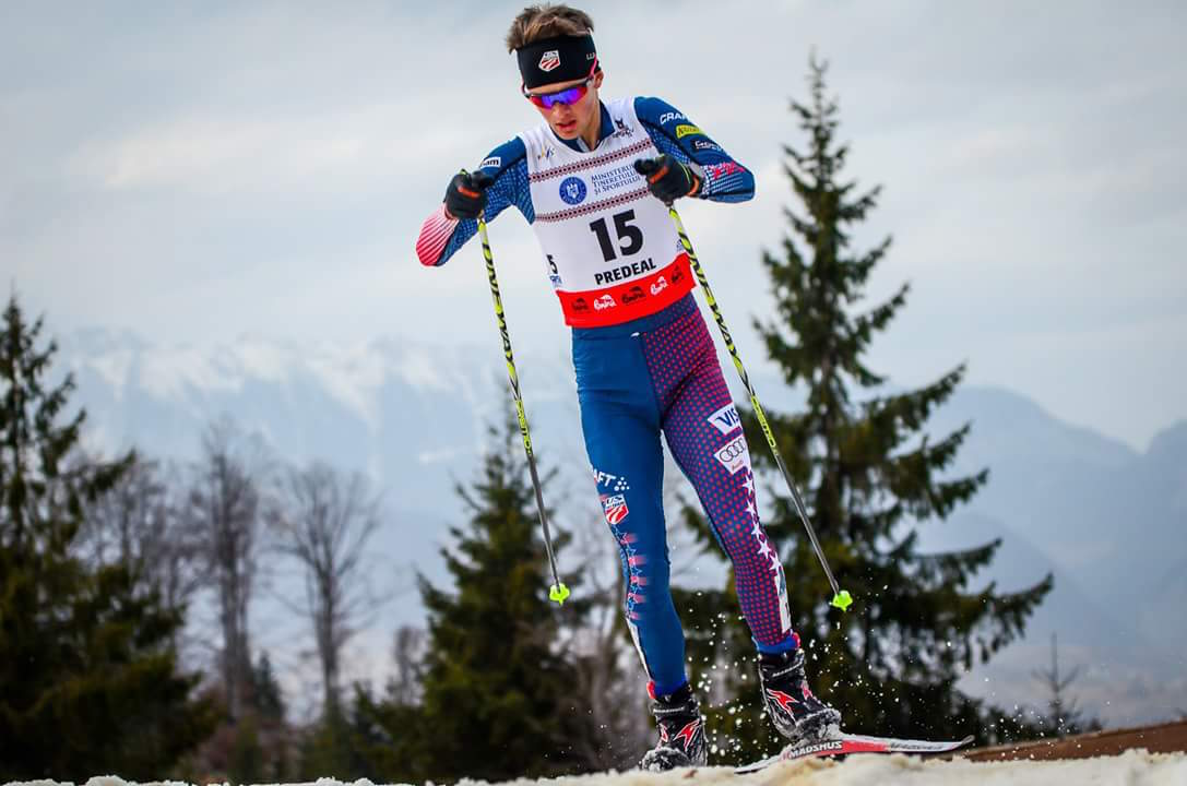 Jasper Good (U.S. Nordic Combined) racing to 11th in the normal hill/10 k individual competition at 2016 Junior World Championships in Rasnov, Romania. (Courtesy photo)