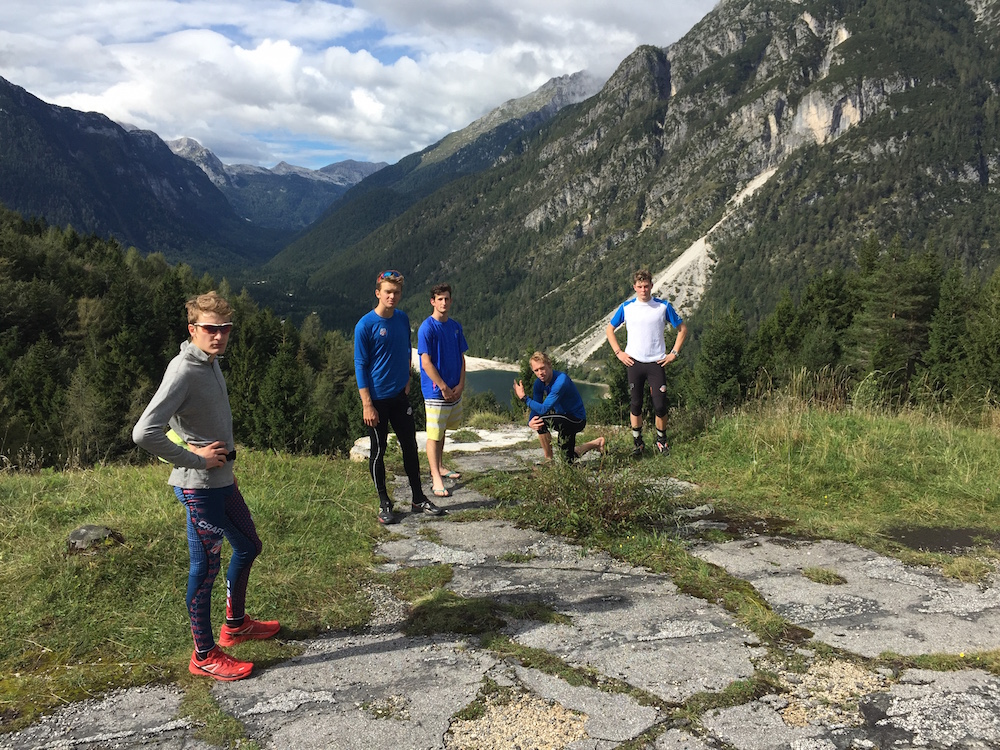 The U.S. Nordic Combined juniors after a rollerski workout in Slovenia this summer. (Photo: Martin Bayer)