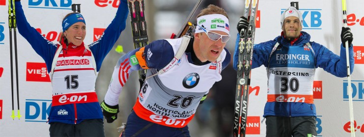 U.S. Biathlon's Susan Dunklee (l), Lowell Bailey (c) and Tim Burke led the team once again this season. (FasterSkier image includes photos from USBA/NordicFocus)