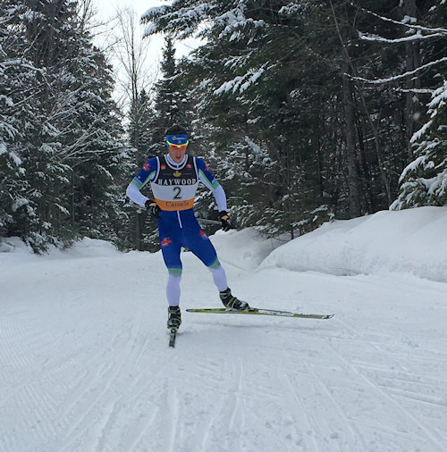 Andy Shields (NDC Thunder Bay) racing to a 45-2nd win with the fastest time of the day right after starting second in the men's 15 k freestyle pursuit at the NorAm at Mont Sainte-Anne in Quebec on Jan. 31. (Photograph: CCC)