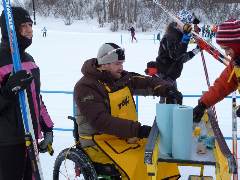 Rossignol tech rep Ira Edwards provides race support at a race at Kincaid Park in Anchorage, Alaska.