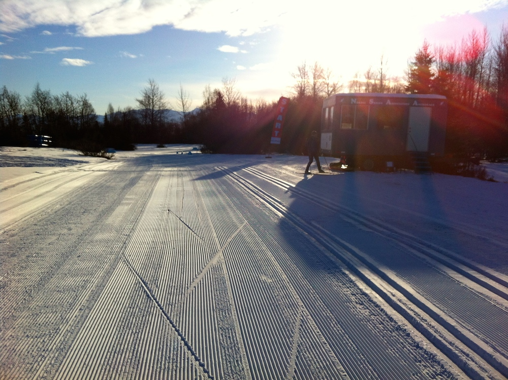 The secondary stadium at World Cup start, 0.8 miles from the Kincaid Chalet and main open-aired stadium at Kincaid Park in Anchorage, Alaska, on Friday morning. While the primary stadium is snow covered, it's exposed and not quite deep enough for setting tracks.