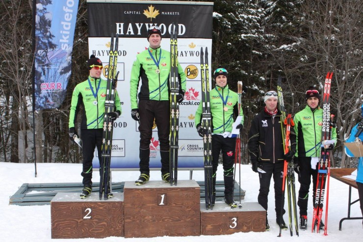 Thunder Bay National Growth Centre swept the podium (best 3) in the men's 10 k traditional on Jan. 30 with Bob Thompson in first, Andy Shields in 2nd and Michael Somppi in third. Colin Abbott of the Yukon Elite Squad positioned fourth (second from r) and a fourth NDC skier, Evan Palmer-Charrette (r) was fifth. (Photograph: Skibec Nordique/Facebook)