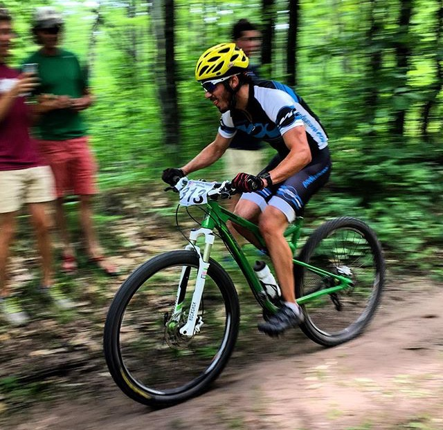 "Torchia competing in a mountain bike race where he later broke his wrist. He writes: ""The infamous first mountain bike race. Sten's made sure I'm not doing any more of them anytime soon!"" (Courtesy photo)"