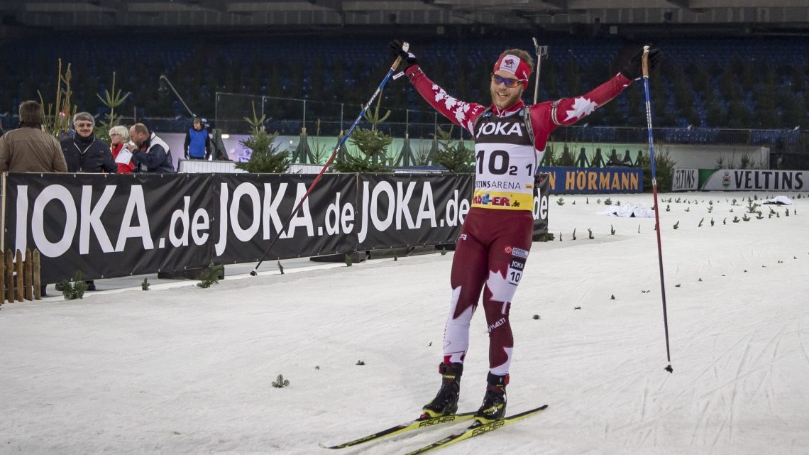 Canada's Macx Davies celebrates as he is cheered on by 42,000 fans during the final lap of the 2016 Biathlon auf Schalke invitational race. The Canadian relay team, with his partner Megan Tandy, finished 10th. (Photo: Biathlon-aufschalke.de)
