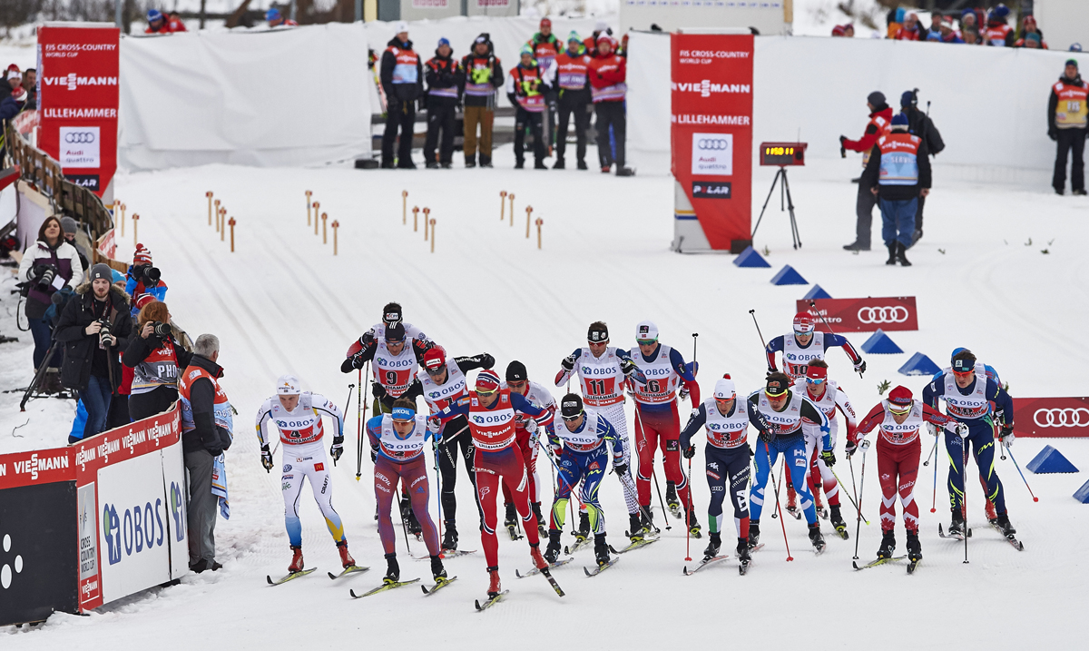 06.12.2015, Lillehammer, Norway (NOR): the men's start - FIS world cup cross-country, 4x10km men, Lillehammer (NOR). www.nordicfocus.com. © Felgenhauer/NordicFocus. Every downloaded picture is fee-liable.