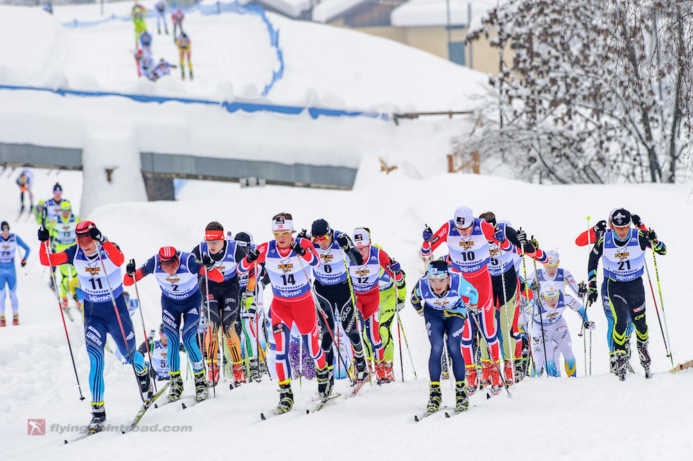 Russia's Kirill Vitsjuzjanin (11) leading the pack in Val di Fiemme, Italy. Vichuzhanin has had his provisional suspension lifted. (Photo: FlyingPointRoad.com)