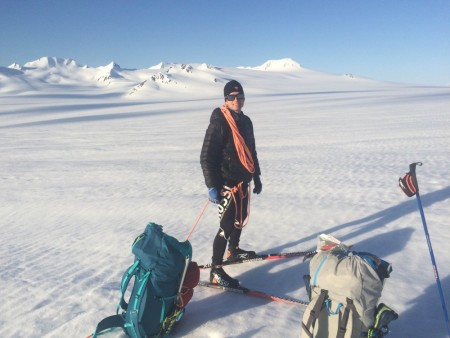 David Norris on an Alaskan style backcountry skate ski. (Photo: Scott Patterson)