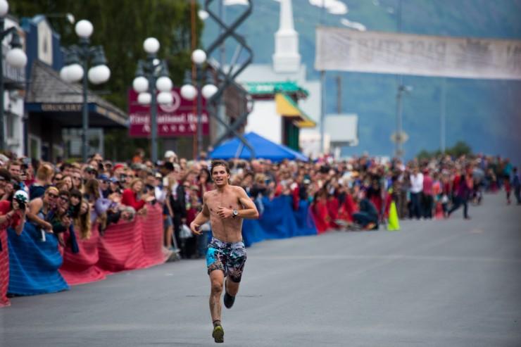David Norris winning his first Mt. Marathon Race in Seward, Alaska July 4th., 2016. (Photo: MMR by Cale Green)