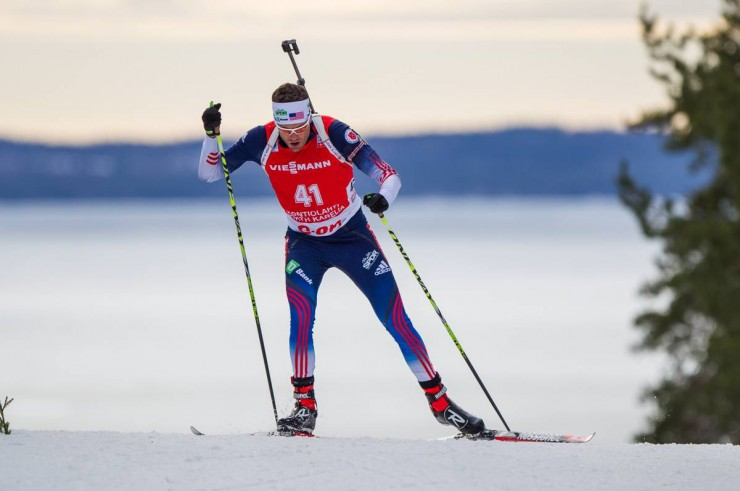 Tim Burke crests a hill in today's 10 k sprint in Kontiolahti, Finland. (Photo: US Biathlon/NordicFocus)