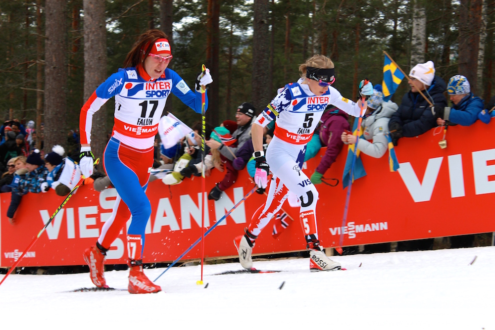 Liz Stephen of the United States skiing with the Czech Republic's Eva Vrabcova-Nyvltova, who had her own standout result in finishing ninth.