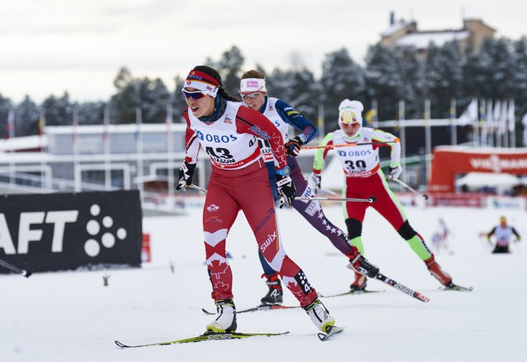 Emily Nishikawa of Canada skis to 39th area in the Falun mass commence skate occasion (Photograph credit score: Fischer/NordicFocus)