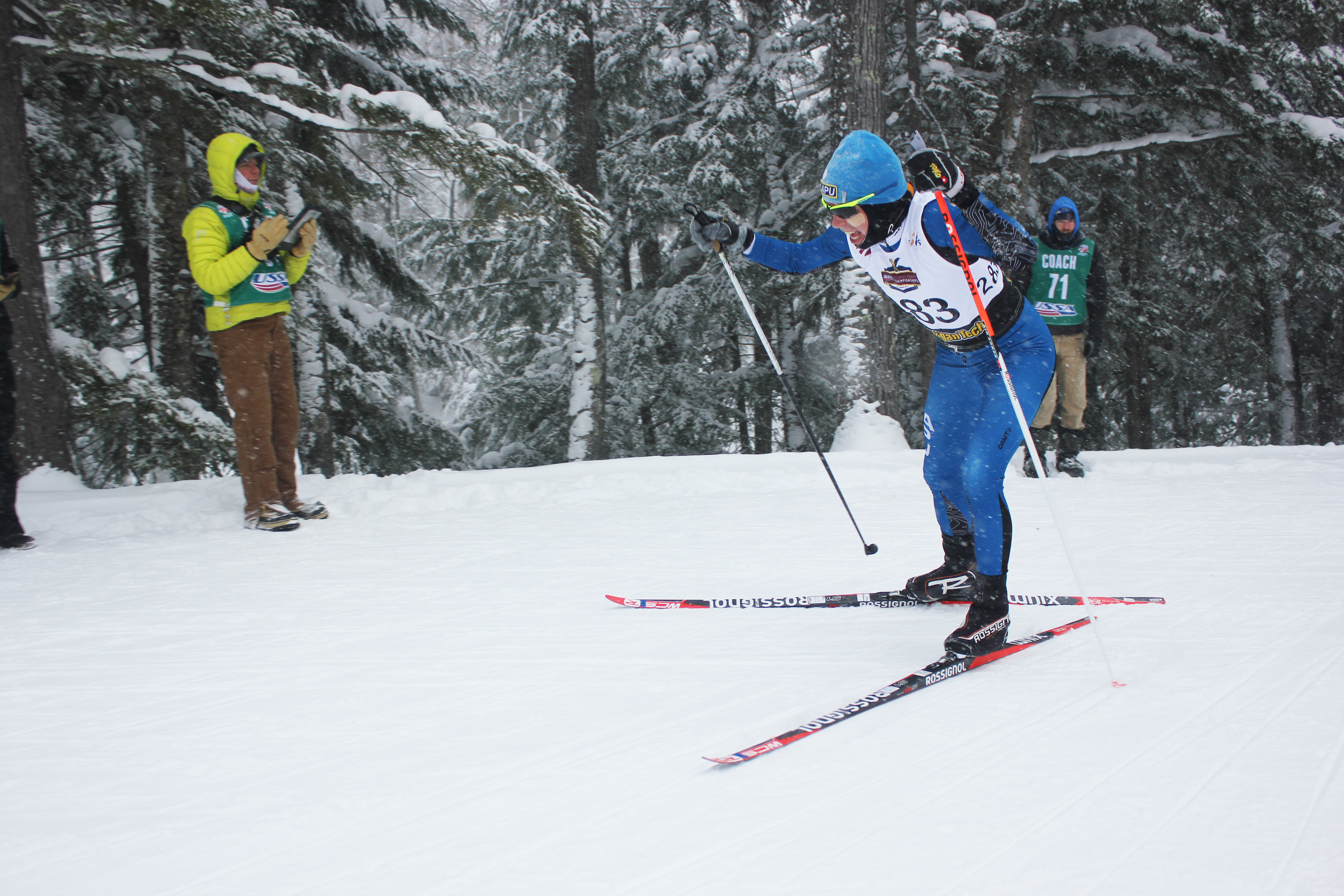 Rosie Brennan (APU) skis with an oversized pole in the initial lap of the women's ten k freestyle at the 2015 U.S. Cross Nation Championships in Houghton, Mich.