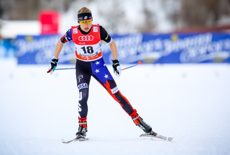 Liz Stephen was 26th in Sunday's ten-kilometer freestyle person start off in Östersund, Sweden. Here she is pictured racing in the 2015 Tour de Ski prologue in Oberstdorf, Germany. (Photograph: Marcel Hilger)