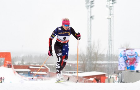 Kikkan Randall raced to 33rd in Sunday's ten-kilometer freestyle person commence in Östersund, Sweden. Here she is pictured in the course of qualifiers in Saturday's classic sprint, exactly where she placed 51st. (Photo: Felgenhauer/NordicFocus)