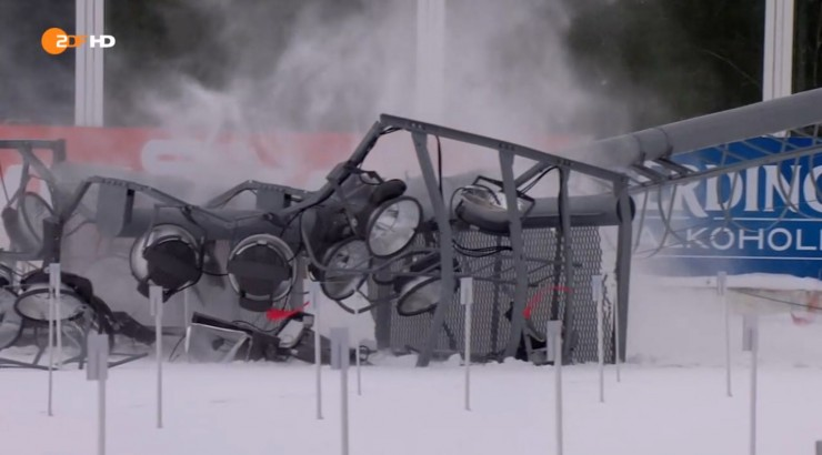 Strong winds knocked more than a light submit in the stadium on Sunday in Khanty-Mansiysk, Russia, leading to the cancellation of the two mass starts for security worries with the continued gusting winds. (Photo: ZDF screen shot)