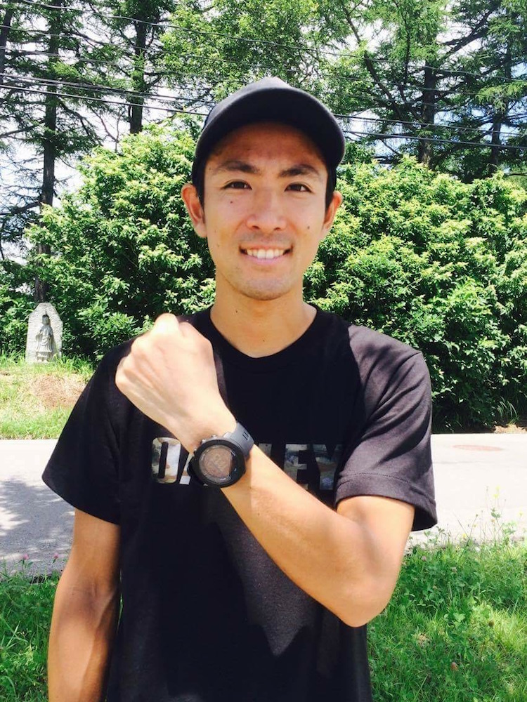 Japan's Akito Watabe, a 2014 Olympic silver medalist, showing off his Suunto Ambit heart rate monitor.