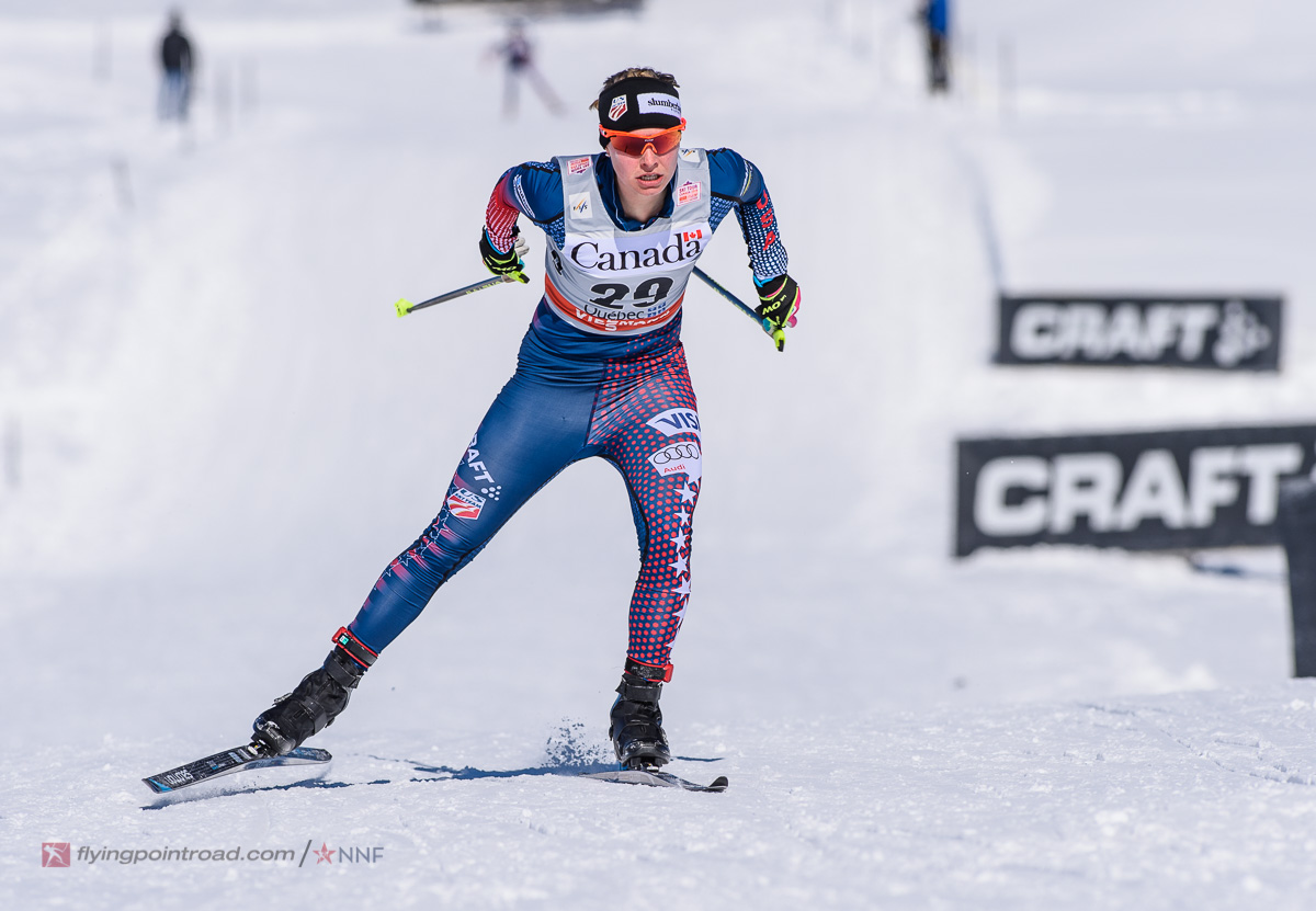 Jessie Diggins (U.S. Ski Team) racing to fourth in the women's freestyle sprint qualifier at Stage 3 of the Ski Tour Canada in Quebec City. She went on to place 13th after a crash in her quarterfinal. (Photo: FlyingPointRoad.com/NNF)