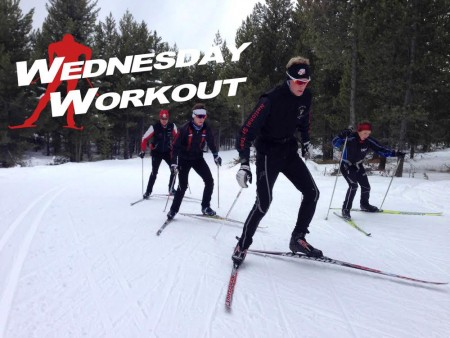 The Aspen Valley Ski Club throughout a tough L3/L4 skate intensity workout in West Yellowstone, Mont. (Photograph: Hailey Swirbul)