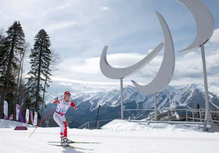Brittany Hudak competes in Cross Country Skiing Women's 5km Standing at the 2014 Paralympic Winter Games in Sochi, Russia. (Photo: Matthew Murnaghan/Canadian Paralympic Committee)