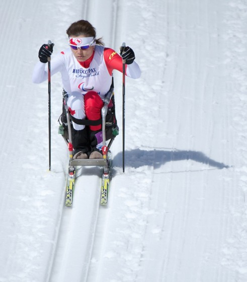 Colette Bourgonje competes in Cross Country Skiing Women's 5km Sitting at the 2014 Paralympic Winter Games in Sochi, Russia. (Photo: Matthew Murnaghan/Canadian Paralympic Committee)