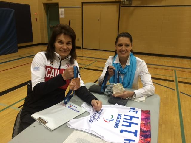 Ten-time Paralympian Colette Bourgonje (l) with Melanie Florizione, vice principal of a school in Regina, Saskatchewan. (Courtesy photo)
