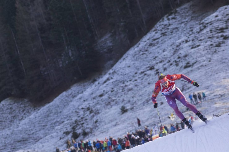 Lowell Bailey on his way to 13th in the men's twelve.five k pursuit at the IBU Planet Cup in Hochfilzen, Austria. (Photograph: USBA/NordicFocus)