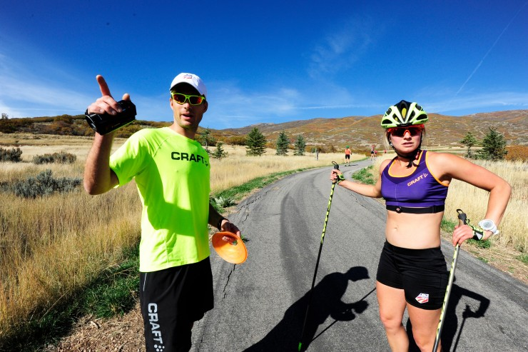 Coach Matt Whitcomb operates with Jessie Diggins at at U.S. Cross Country Ski Staff roller ski training on the Olympic trails at Soldier Hollow, Utah. (U.S. Ski Group - Tom Kelly)
