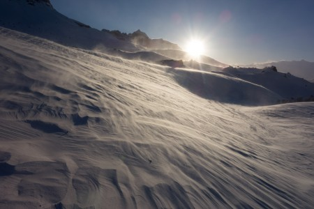 Wind, snow and sun in the upper Skolai Creek drainage. Photo: Seth Adams