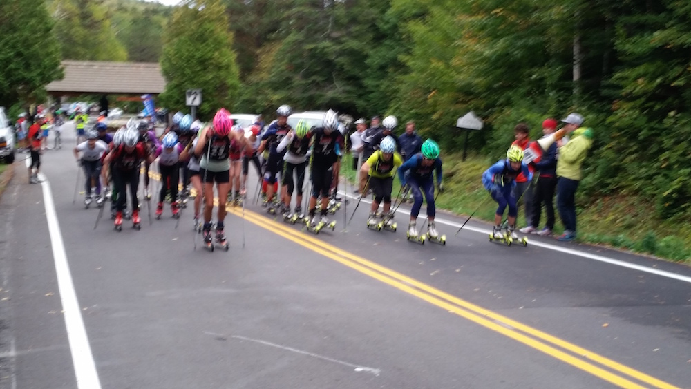 The start off of the women's race at the 2015 Climb to the Castle up Whiteface Mountain in Wilmington, N.Y. (Photo: Peter Minde)
