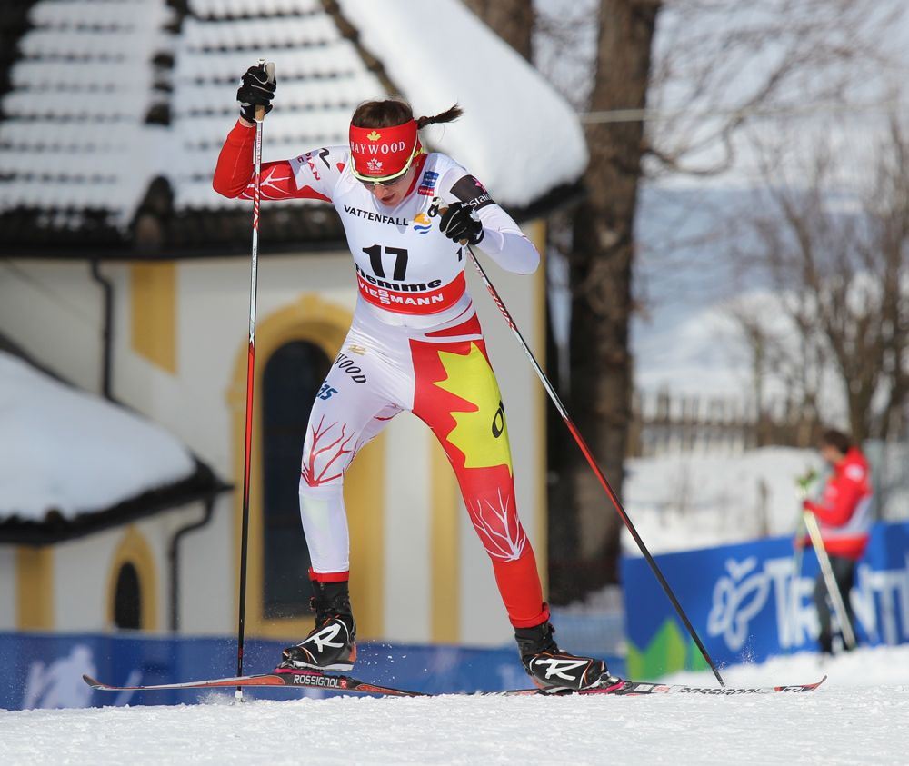 Dasha Gaiazova attacking one of several climbs in the women's 10 k freestyle individual start on Tuesday at the 2013 World Championships in Val di Fiemme, Italy. The top Canadian, Gaiazova was 40th.