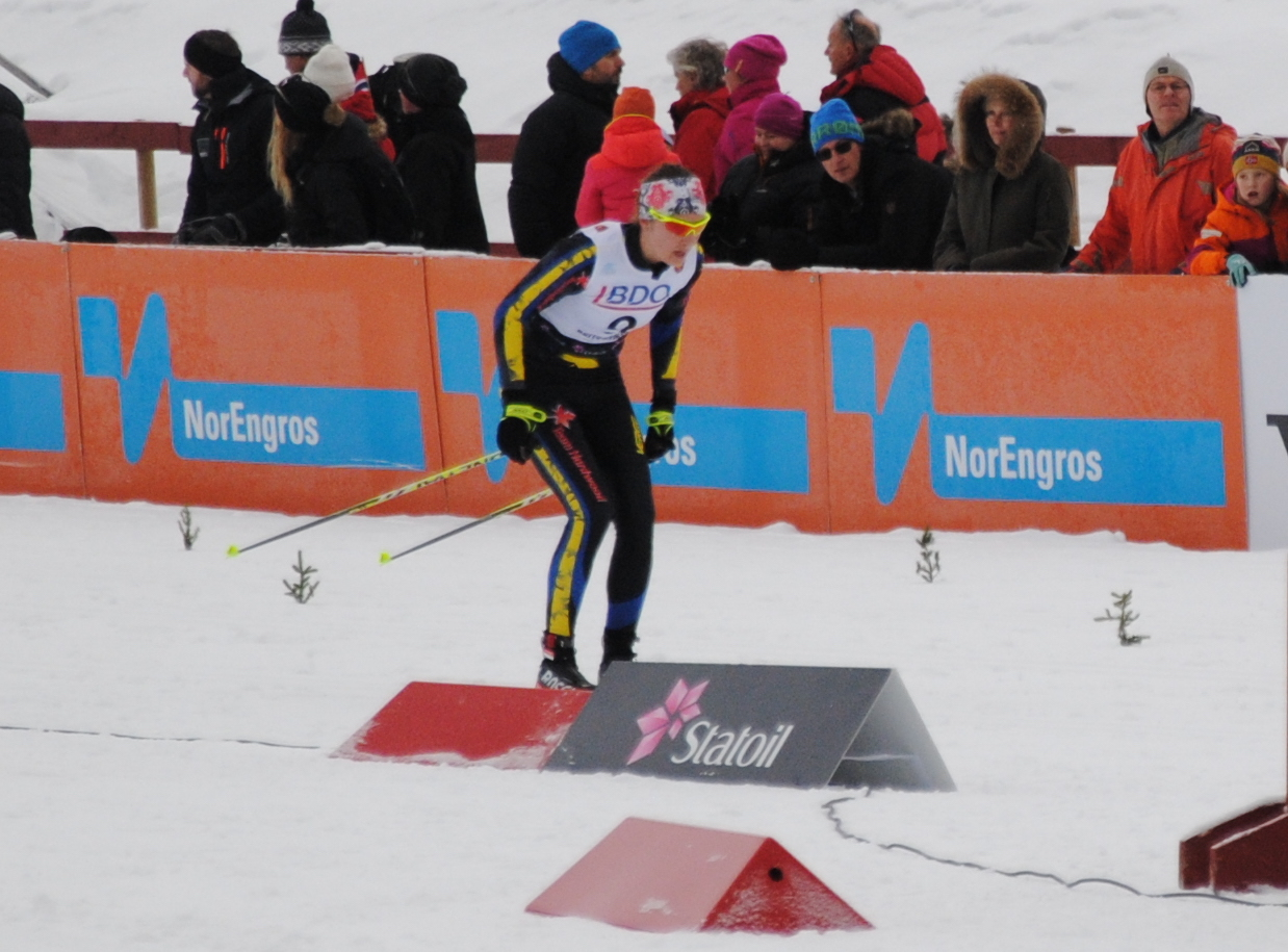 Madison Fraser (Team Hardwood) racing to 50th in the women's 10 k classic FIS race on Friday in Beitostølen, Norway. (Photo: Aleks Tangen)