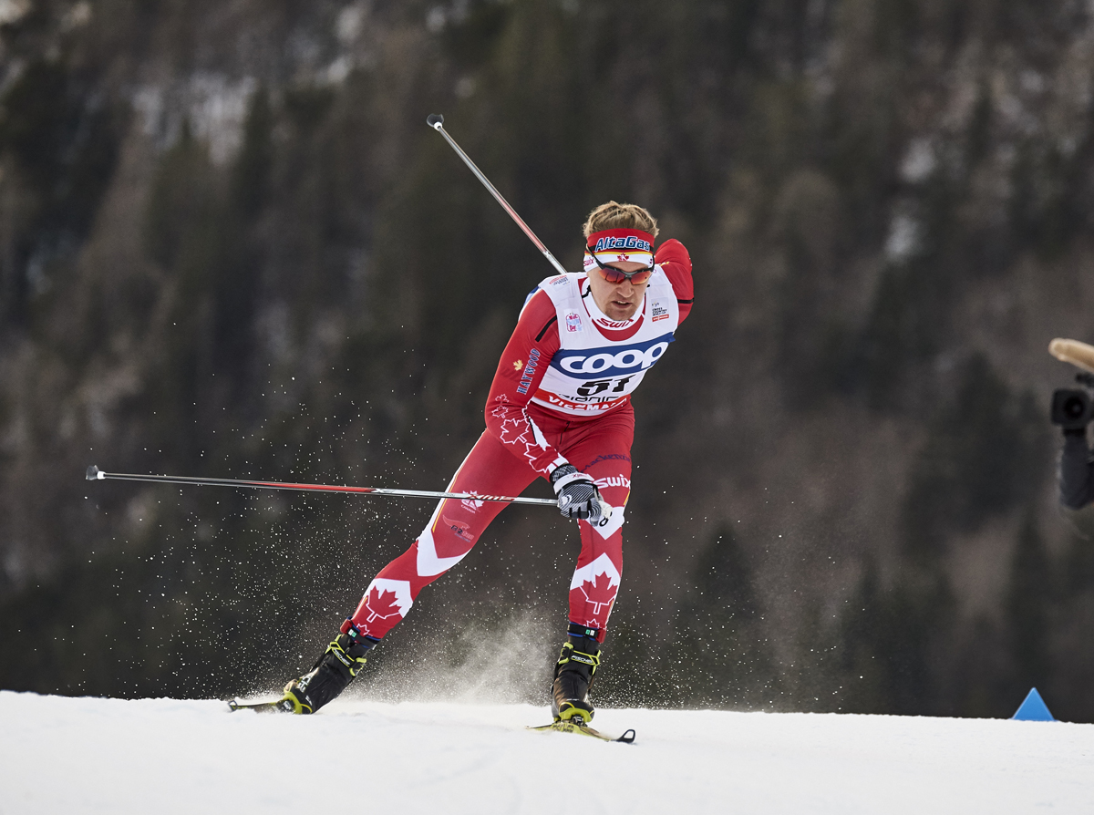 Knute Johnsgaard (Canadian U23+ Development Team) racing to 54th in his first international World Cup, the 1.2 k freestyle sprint in Planica, Slovenia, in January. (Photo: Fischer/NordicFocus)
