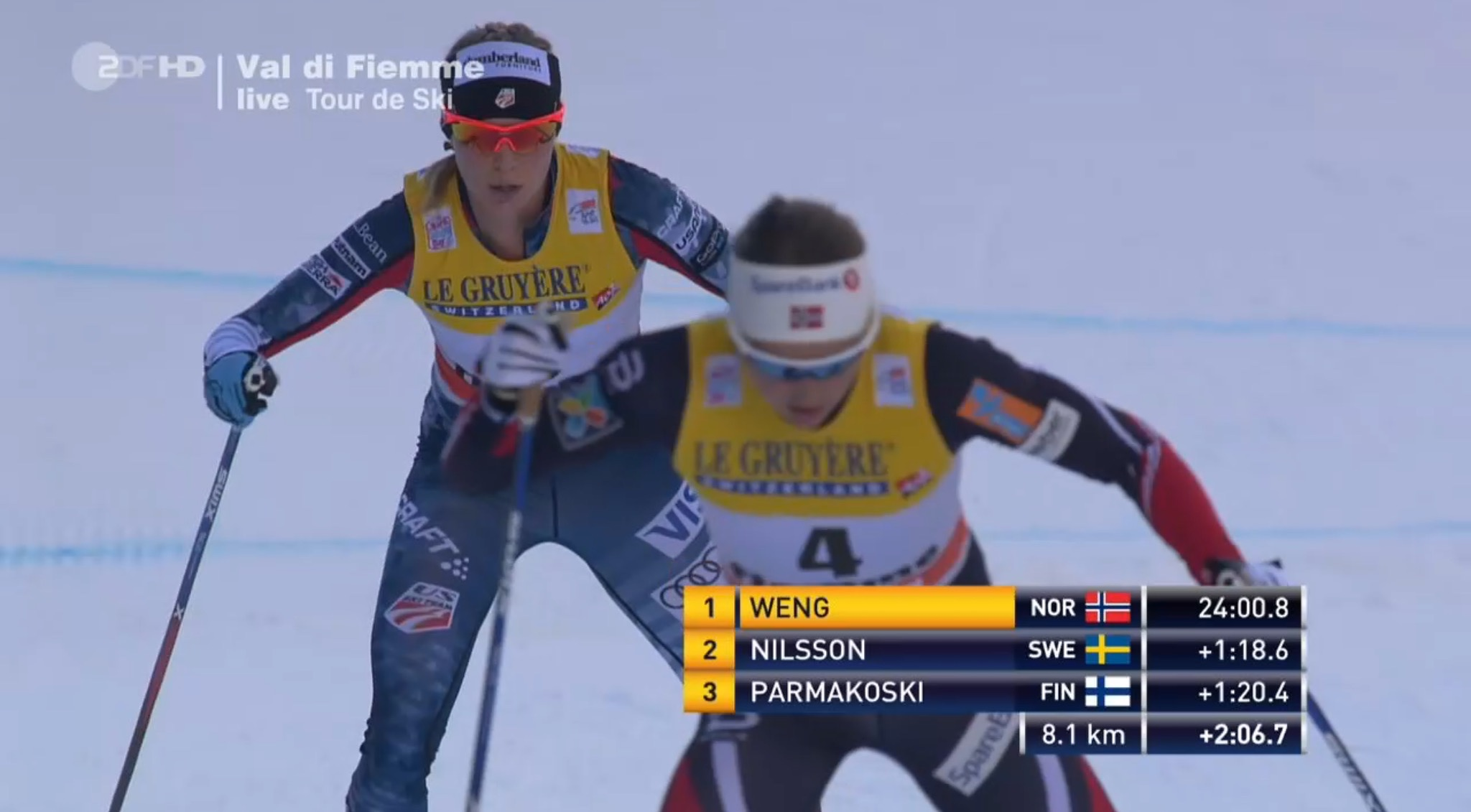 American Jessie Diggins chasing Norway's Ingvild Flugstad Østberg on the final climb of the 2017 Tour de Ski up the Alpe Cermis in Val di Fiemme, Italy. Østberg finished the Tour in fourth and Diggins fifth, tying a best-ever mark for the U.S., set in 2015 by Liz Stephen. (Photo: ZDF screenshot)