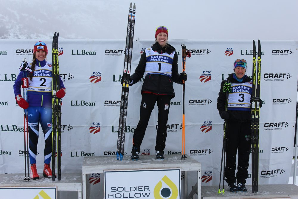 The women's classic sprint podium at 2017 U.S. nationals on Sunday at Soldier Hollow: with winner Jennie Bender (c) of the Bridger Ski Foundation, runner-up Becca Rorabaugh (l) of Alaska Pacific University, and Kaitlynn Miller (r) of the Craftsbury Green Racing Project in third.