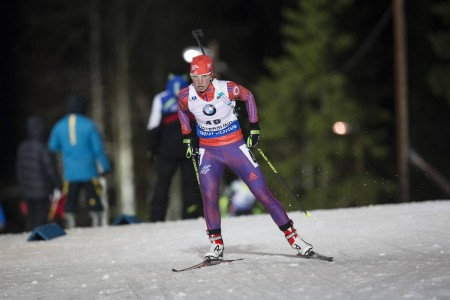 Annelies Cook (US Biathlon) racing to 25th in the 7.5 k sprint at the IBU Globe Cup in Östersund, Sweden. (Photo: USBA/NordicFocus)